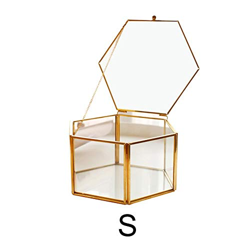hatulle Glas Metall Gold Glass Ring Box Wedding Ring Box Jewelry Box Eternal Flower Glass Cover Innovative Home Decoration Ornaments ()