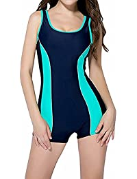c22002f24f TT Global Women s One Piece Swimming Costume Athletic Boyleg Swimwear  Raceback Swimsuit Bathing Suit