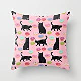 Kissenbezüge Pillow Cover Black cat donuts cat breeds cat lover pattern art print cat lady must have Throw Pillow Case with Featuring Premium Fabric for Stays Cool And Luxurious Through The Night