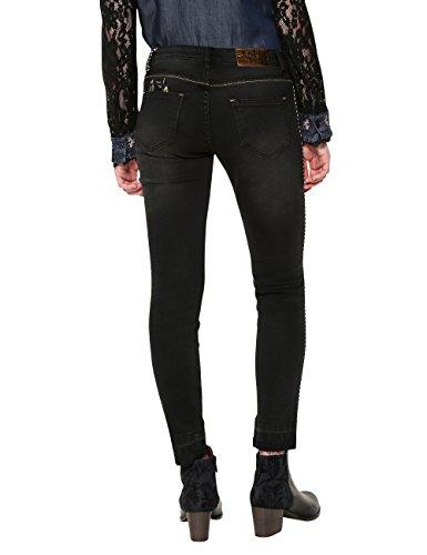 Desigual Denim_pipin, Jeans Slim Donna Blu (Black Denim 5009)