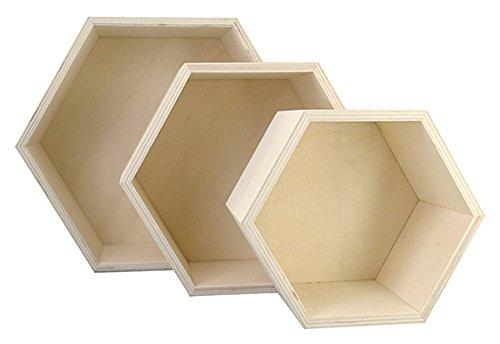 Kreul 45154 - Holzboxen 3er Set in Wabenform, je 1 Stück ca. 14,8 x 14,8 x 10 cm, ca. 19 x 19 x 10 cm und ca. 24,2 x 24,2 x 10 cm, unbehandelt, zum Verzieren mit verschiedenen Techniken und Farben Wabe