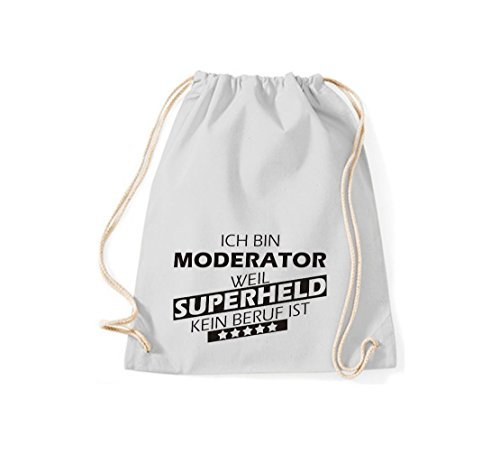 Shirtstown Borse palestra Ich bin Moderatore, weil Super eroe niente Occupazione è - Viola, 37 cm x 46 cm Grigio Chiaro