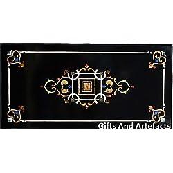"""72""""x 48"""" negro de mármol incrustaciones de lujo mesa de comedor superior Royal Pietra Dura arte"""