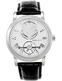 Boudier & Cie B15H1- Reloj analógico de pulsera para hombre (automático), correa de cuero negra