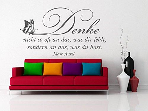 Wandtattoo-bilder® Wandtattoo Denke nicht so oft an das, was dir fehlt Wandsticker Wanddeko Wohnzimmer Schmetterlinge Farbe Braun, Größe 120x67 (Denke Das Mo)