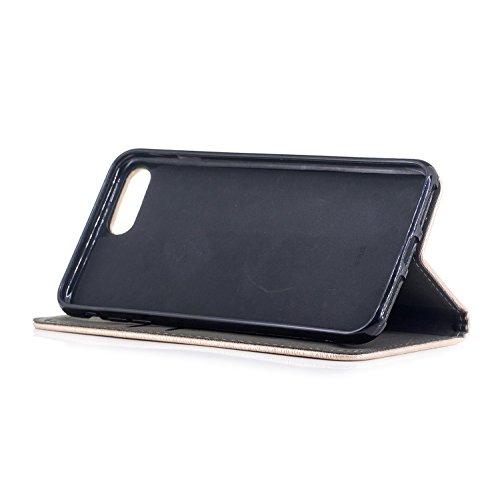 Per iPhone 8 Plus / iPhone 7 Plus Cover , YIGA Tree texture grigio Retro Modello Design Con Book style Internamente Silicone TPU Cover Flip Funzionalità di Supporto cuoio Case in Premium pelle Protett sw-black