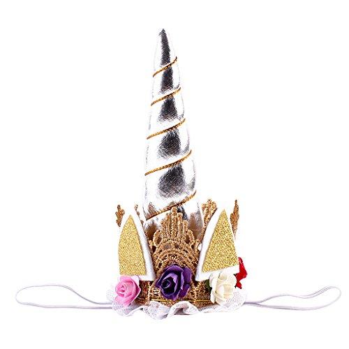 Baoblaze Einhorn Kostüm Kopfschmuck Haarreif mit Blumen Tüll Kinder Mädchen Kopfbedeckung Stirnbänder - Silber, wie beschreiben