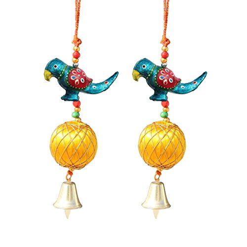 Door Hanging Blue Parrot With Yellow Resham Ball And Metal Bell Set Of 2 By Handicrafts Paradise