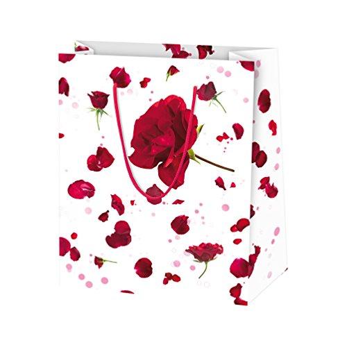 Susy Card 11277662 Geschenktaschen, 10-er Packung, glänzendes Papier, Motiv Bouquet, rot
