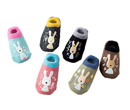 6 Paare Babysocken Dick Warm Baumwolle Babysöckchen Kindersocken Anti Rutsch Niedlich Tier Socken für Baby Jungen ()