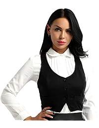 55cca2ac05f39f iixpin Damen Kurz Weste Anzug Weste Modern Kellnerweste Slim Fit für  Restaurant Bar