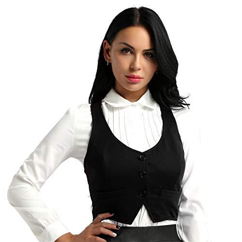 iixpin Damen Kurz Weste Anzug Weste Modern Kellnerweste Slim Fit für Restaurant Bar Schwarz Medium