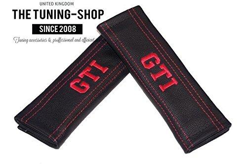 2x Sicherheitsgurt Bezüge Pads Schwarz Schultertasche Leder Rot GTI Edition Stickerei