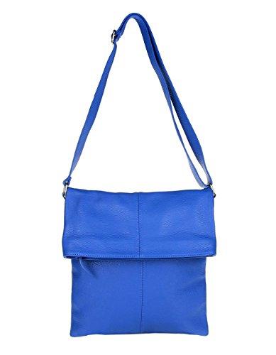 Preisvergleich Produktbild Made in Italy LEDER Tasche CrossOver Messenger genuine leather Bag Schultertasche Umhängetasche Tablet Ipad vera pelle (Blau)
