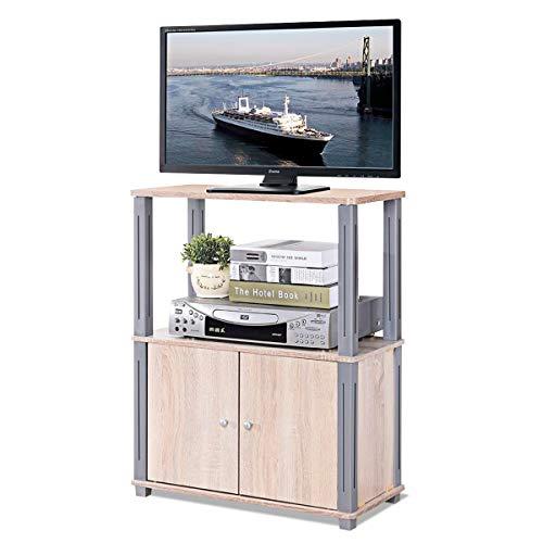 Meuble TV Meuble pour Télévision Table Basse en Bois de MDF P2 Couleur de Chêne Blanc de Salon (60x29.5x74.5 cm)