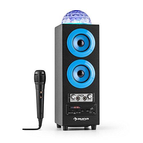 auna DiscoStar Blue • 2.1 Bluetooth-Lautsprecher • Radio • UKW-Radiotuner • 30 Speicherplätze • MP3 • SD • USB • Mini-USB • AUX • Mikrofon • LED-Lichteffekt • Akku • tragbar • blau