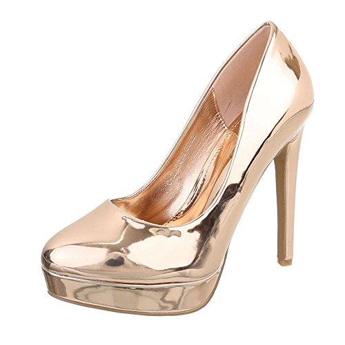 l Pumps Damen-Schuhe High Heel Pumps Pfennig-/Stilettoabsatz High Heels Pumps Pink Gold, Gr 37, C-2-2- (Kostüme C)