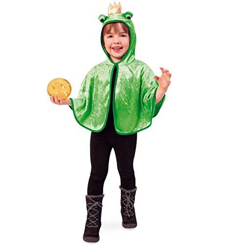 """Kinderkostüm \""""Cape Froschkönig\"""" Cape/ Umhang/ Überwurf mit Kapuze in hellgrün mit goldener Krone und Froschaugen für Ihren kleinen Prinzen Tierkostüme Wassertiere Teich Frosch Gr 104"""