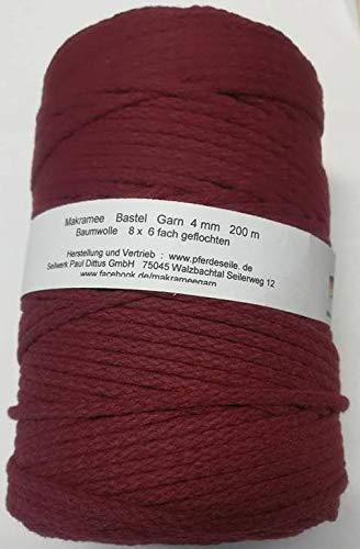 dac9575cbf70 Pferdeseile_DE - Gomitolo di Cotone macramé, 200 m, 4 mm, Colore: Porpora