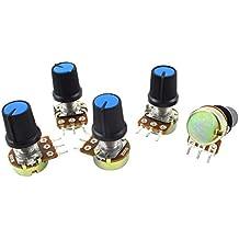 Potenziometro - TOOGOO(R) B500K 500K Ohm Potenziometro di 3 terminali di audio rotante di tipo B di 5 pezzi