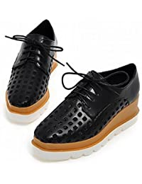 ZQ hug Zapatos de mujer - Plataforma - Comfort / Punta Cerrada - Oxfords - Exterior / Casual - Semicuero - Negro / Blanco / Bermellón , white-us6 / eu36 / uk4 / cn36 , white-us6 / eu36 / uk4 / cn36