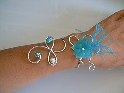 """Bracelet Femme Original Ivoire/Crème/Ecru/Blanc cassé/Beige clair Bleu Turquoise Argenté/""""Argent"""" p robe de Mariée/Mariage/Soirée/Cérémonie Fleurs plumes perles (pas cher)"""