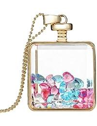 Intiye Women Dried Flower Glass Square Perfume Bottle Pendant Necklace Pendants