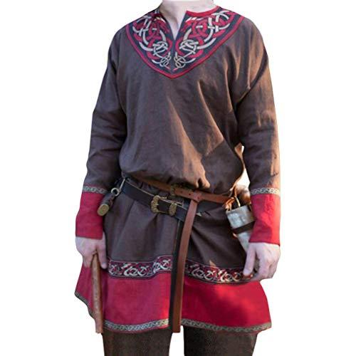 emd Vintage Drucken Tunika V-Kragen Ethnisch Pirat Shirt für Halloween Cosplay Kostüm Große Größen S-4XL (Ohne Gürtel) ()