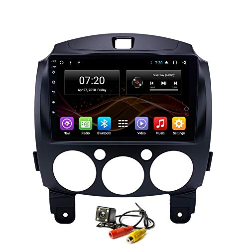 2.5D IPS Android 8.1 Octa Core Car DVD Radio GPS Navigation for Mazda 2 Mazda2 2007-2014 Stereo Audio Navi Video with Bluetooth Calling WiFi Touch Screen (Android 8.1 4+32G for Mazda2 2007-2014) -