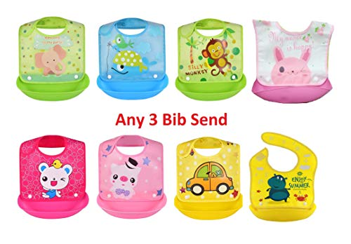 Manan Shopee Waterproof Silicone Roll up Washable Crumb Catcher Baby Feeding Eating Bibs with Food Catching Pocket Pack of 3 (Multicolor) Print & Design Any 3