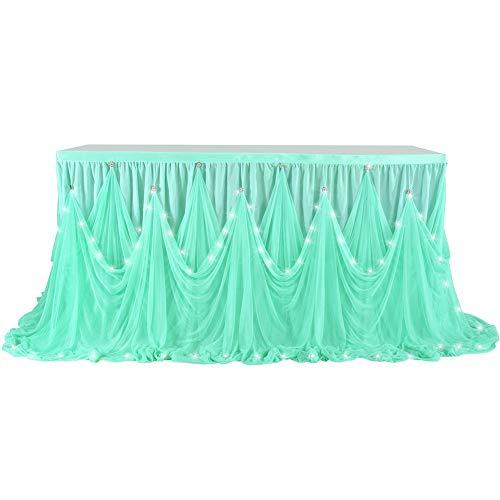 ACHICOO LED Diamante Style Tisch Rock für Party Hochzeit Geburtstag (mit Lampe) Tiffany Blue 6(ft) X30(in) -