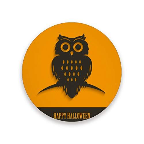 LUPINZ Halloween-Eulen-Design, Thermo-Untersetzer, flexibel, langlebig, rutschfest, feuchtigkeitsabsorbierend, mit Korkunterlage, Holz, 1, 1 piece set (Eule Thermo Becher)