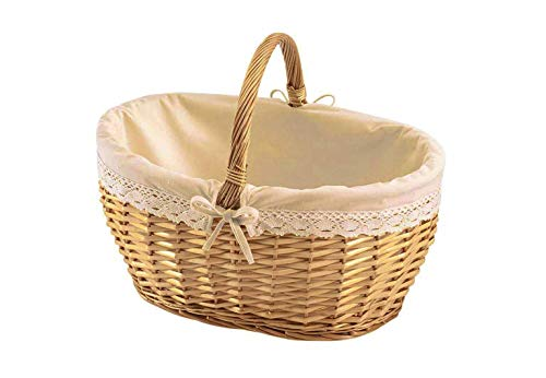 Kobolo Weidenkorb Einkaufskorb Geschenkkorb Präsentkorb mit Textil