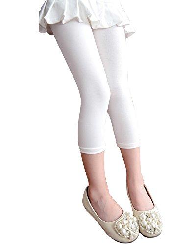 Minetom Frühling Sommer Mädchen Kinder Sportshorts 3/4 Farbige Leggings Leggins kurz Hose Caprihose Stoffhose Weiß 110