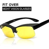 c26db80247cd61 Runrain Unisexe Verres jaunes Lunettes de vision nocturne Lunettes ...