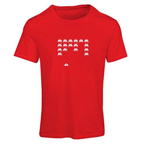 Frauen T-Shirt Weinlese pc maniacs lustige Gamergeschenke lustige Gamerhemden (Medium Rot Weiß)