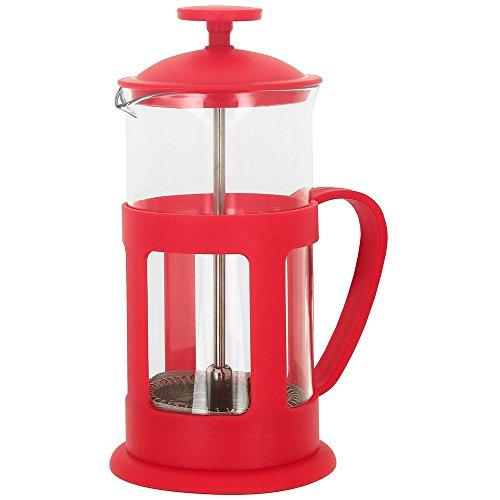 Promobo - Cafetière Italienne Théière à Piston 3 Tasses 350Ml Rouge