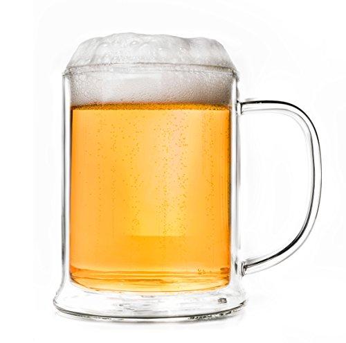 Creano doppelwandiges Bierglas 500ml, Thermoglas Beerglass, Bierkrug, Humpen