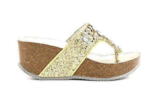 CAFè NOIR HB913 oro ciabatte donna infradito zeppa pelle strass perle Oro