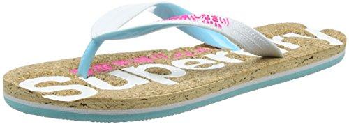 Superdry Cork Colour Pop, Tongs Femme Multicolore (Optic White/Fluro Pink)