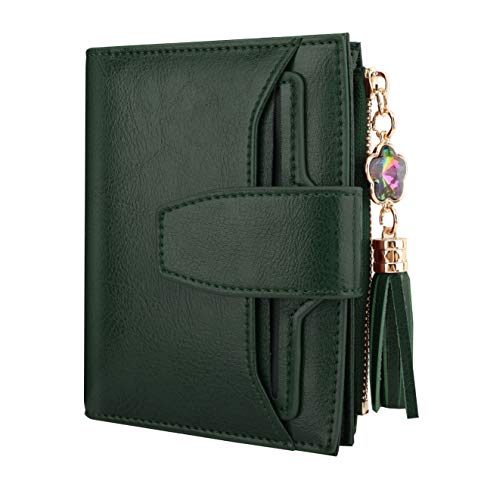 a513b1478a15 Luxspire Genuine Leather Women's RFID Blocking Wallet, Small Compact Zipper  Pocket Wallet Card Case Purse Bifold Wallet with 2 ID Window, Dark Green
