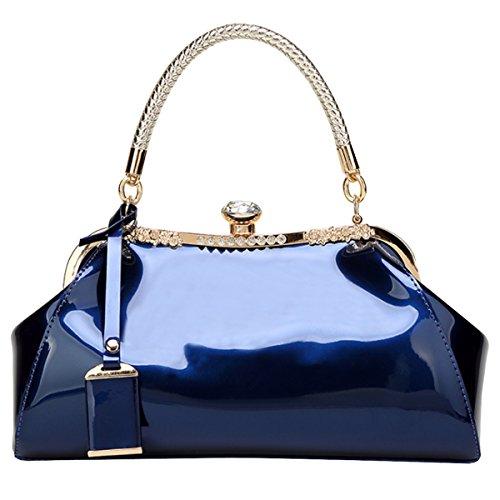d5a82df18cf3a Milya Damen Mode-Lackleder Handtasche Schulter Hochzeit Braut Abendtasche  Clutch Blau Blau