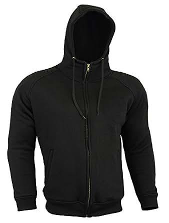 Armoured Hoodie Motorcycle Motorbike Summer Hoody Jacket Zip Up Removable Armor Bikers - Black - Size = 2X Large