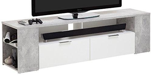 FMD Möbel Tabor 2 TV/Hifi-Element, Holz, beton / weiß, 180 x 40 x 50 cm (50 Tv-element)