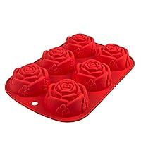 Questo silicone teglia con sei dettagliata rose è perfetto per piccole torte, cupcake e muffin. Con questa teglia, siete pronti per qualsiasi occasione, sia per un' occasione romantica, come compleanni o anniversari Valentine' s Day. Quando i...