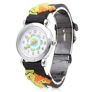 LZX Lion de bande dessinée de silicone montre à affichage analogique-bracelet à quartz (noir)