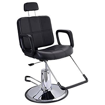 Costway Reclining Barber Chair Hydraulic Salon Tattoo Styling Hairdressing Threading Spa - low-cost UK light store.