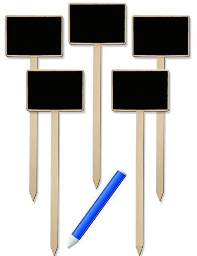 HomeTools.eu® - 6er Set, 5X Klassische Holz Pflanz-Schilder und Markier-Stift weiß, Beet Balkon Kräuter-Garten, Landhaus, beschreibbar, 25cm inklusive Stift