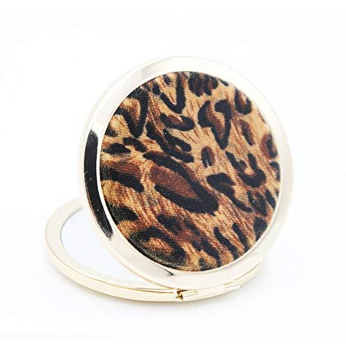 l Mit licht Kosmetikspiegel Schminkspiegel Metallrahmenpfirsichherz-Leopard-Schminkspiegel ()