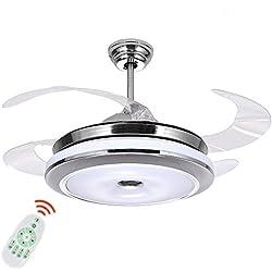 Plafonnier ventilateur silencieux moderne Ventilateur à 4 pales réversibles Lampe LED Variateur à 3 couleurs, Remote Control, 92CM 48W